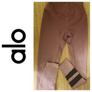 ALO, Yoga Leggings, Mauve Gradient, Blk Stripe, XS